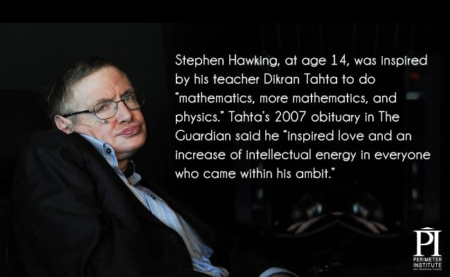 Stephen Hawking sitting in a wheelchair with quote about teacher