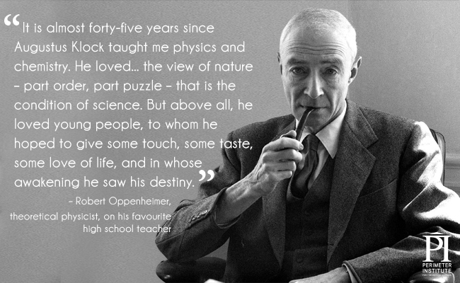 Black and white picture of an older man wearing a suit and smoking a pipe with a quote about a teacher