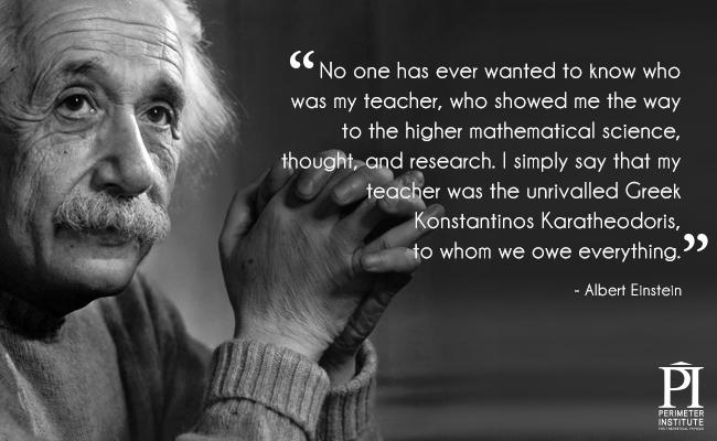 Portrait of Albert Einstein with a teacher quote