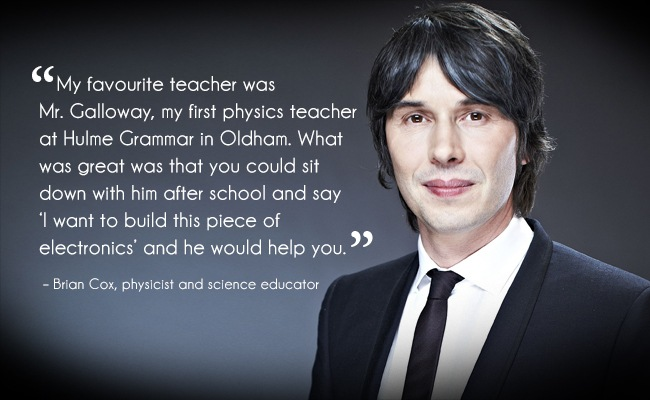 Man wearing a black suit with dark hair and a quote about a teacher