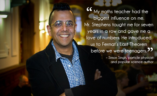 Man wearing a dark jacket and glasses inside a cafe and a teacher quote