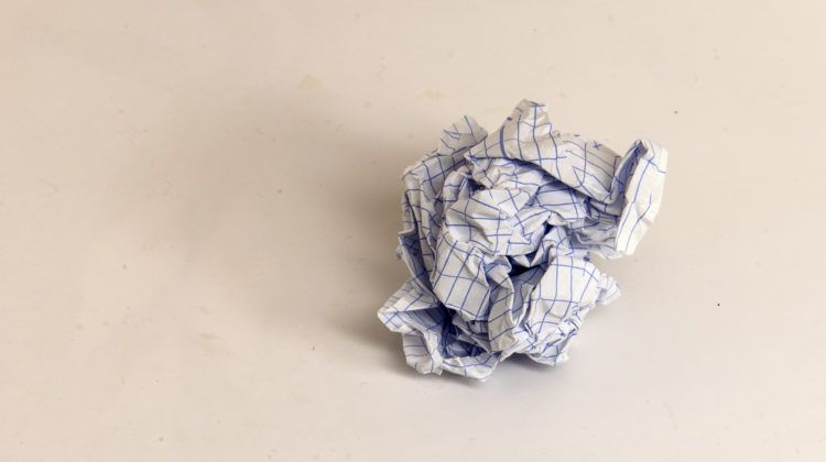crumpled paper slice