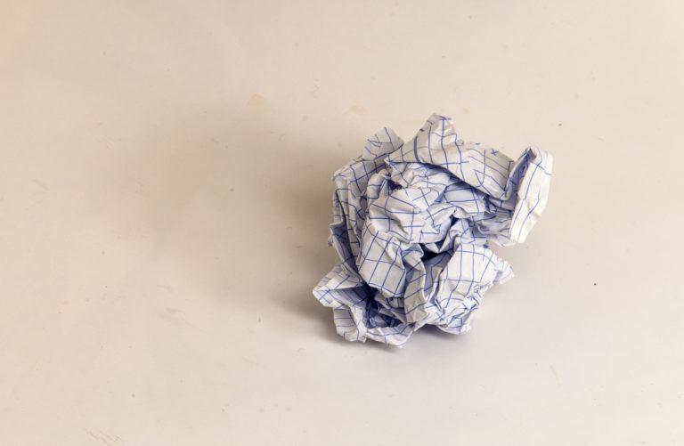 crumpled paper slice