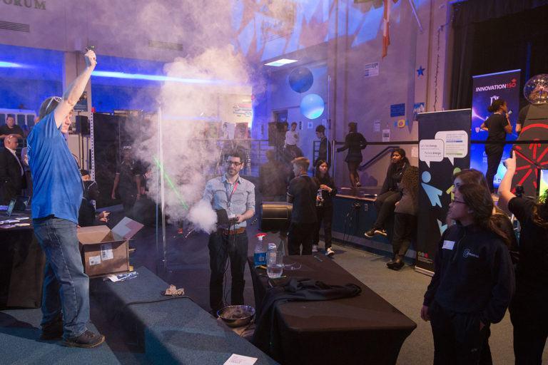 Shining a laser through smoke