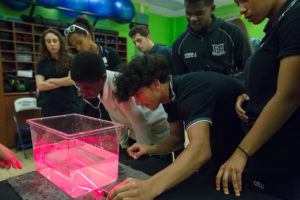 Des élèves examinent une chute lumineuse