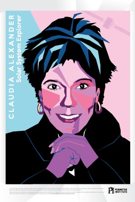 Colour blocked illustration of Claudia Alexander