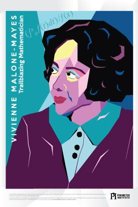 Colour blocked illustration of Vivienne Malone Mayes