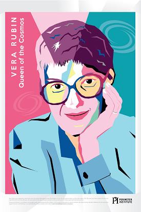 Colour blocked illustration of Vera Rubin