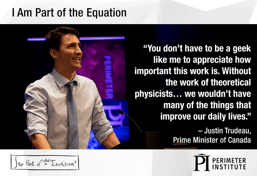 Graphic with Justin Trudeau and a quote