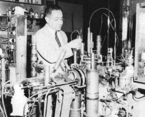 Black and white picture of a man in a lab