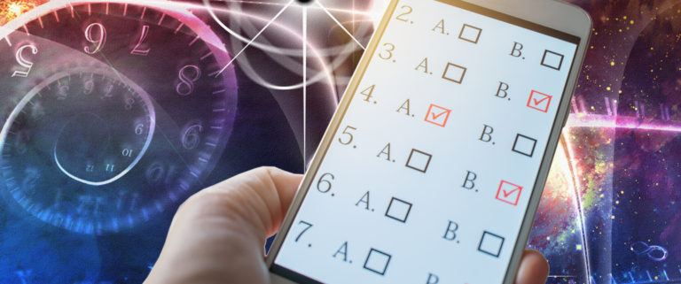 abstract physics background with hand holding cell phone with a quiz