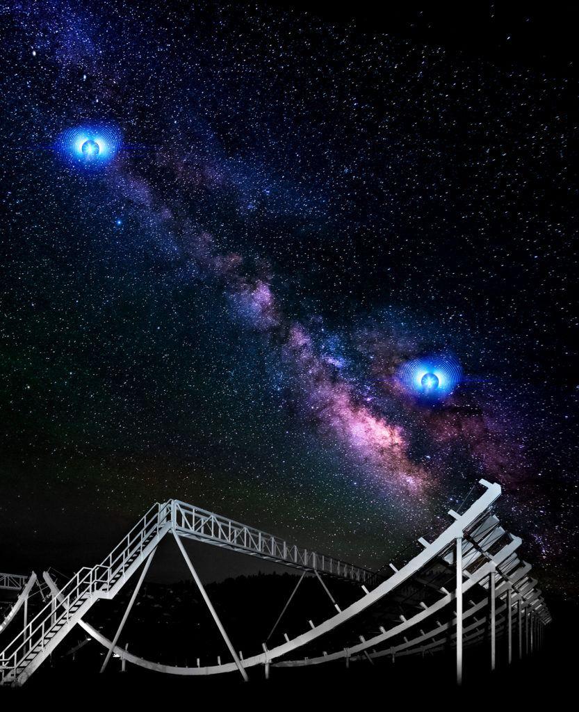Un grand détecteur en forme de demi-lune est éclairé dans un champ. À l'arrière-plan, un ciel étoilé avec une représentation d'artiste de deux sursauts radio rapides.