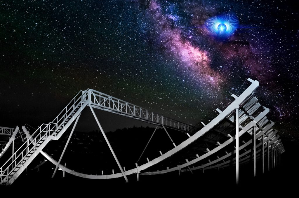 A large halfpipe-shaped detector is illuminated in a field with a starry sky in the background with an artist's depiction of two fast radio bursts.