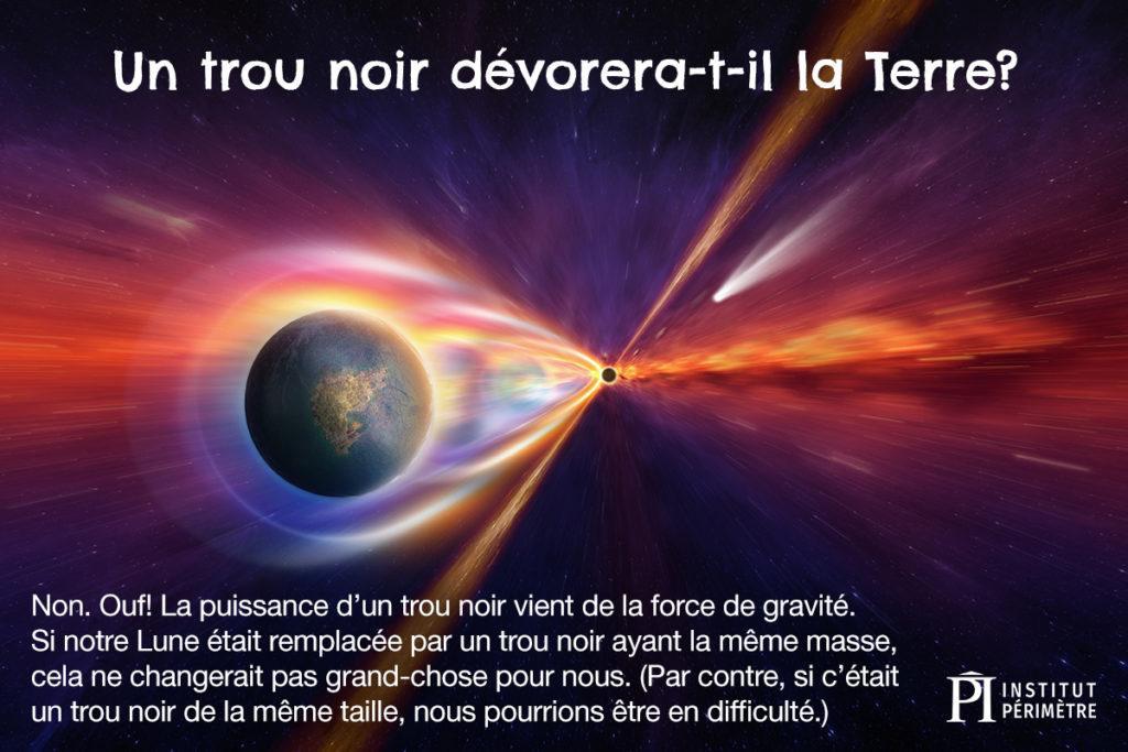 Terre aspirée dans un petit trou noir