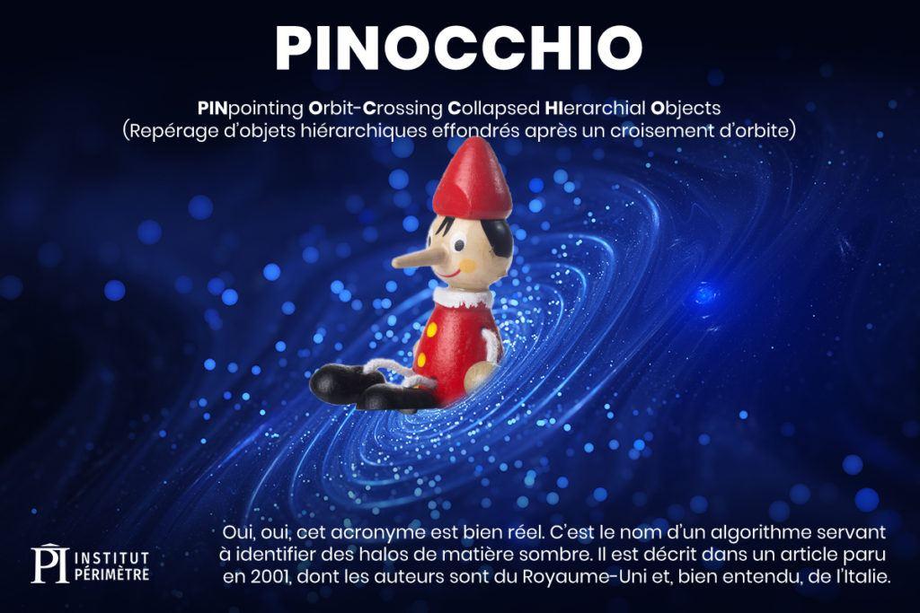 Poupée Pinocchio en bois assis à l'intérieur d'un fond de trou tourbillonnant bleu