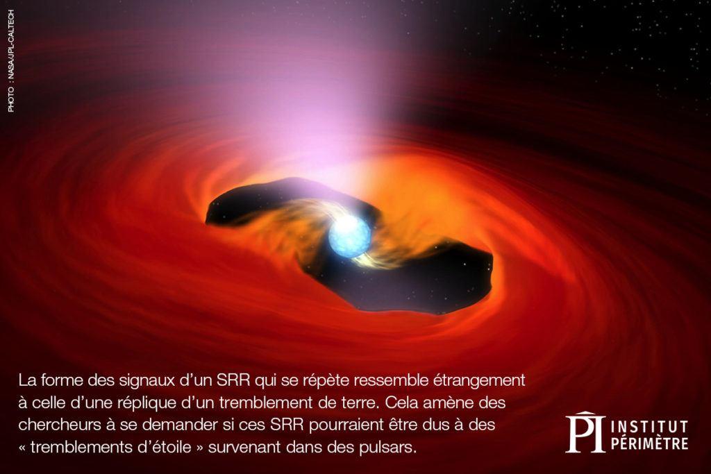 L'étoile bleue au centre des tourbillons rouge et orange dans l'espace