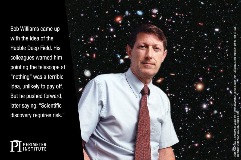 Image of galaxies in the night sky with a man in shirt and tie superimposed in front