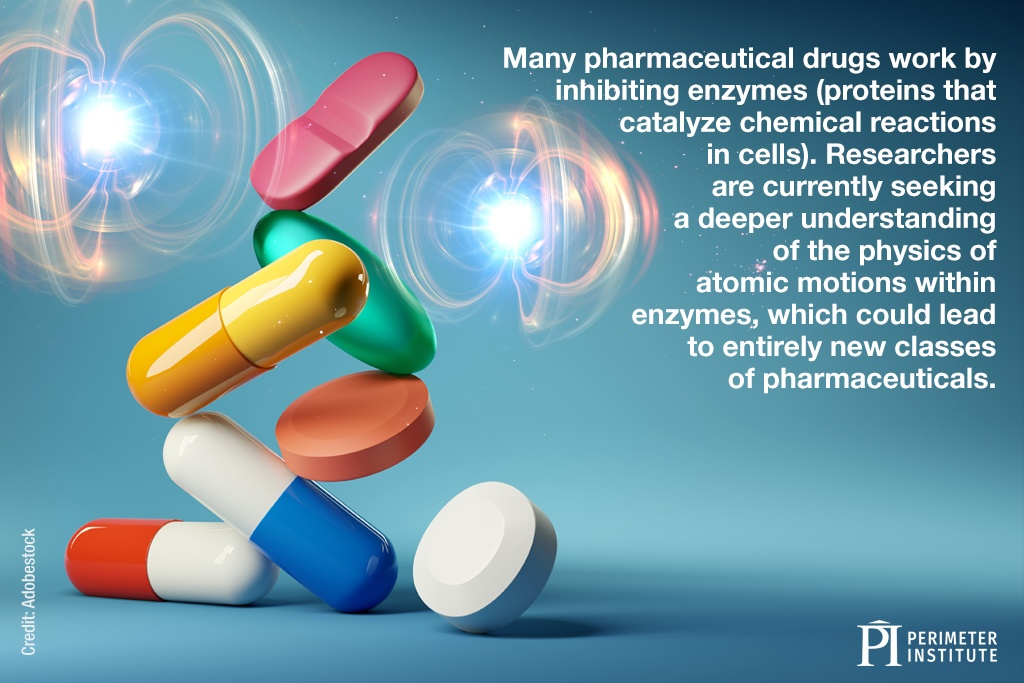 Many pharmaceutical drugs work by inhibiting enzymes (proteins that catalyze chemical reactions in cells). Researchers are currently seeking a deeper understanding of the physics of atomic motions within enzymes, which could lead to entirely new classes of pharmaceuticals.