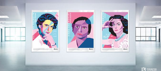 A picture of three posters featuring famous women in science