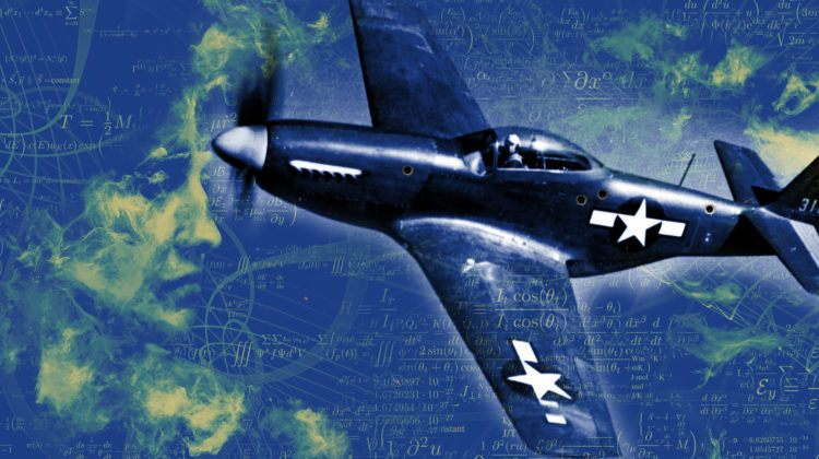 A World War 2 fighter plane with bullet holes in it, superimposed over physics equations and an illustration of a woman's face in profile