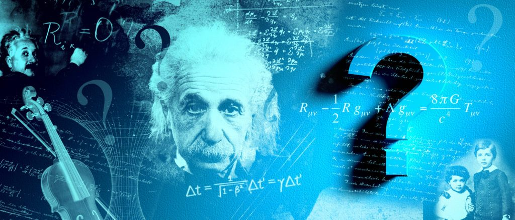 collage of images of Albert Einstein and question marks and equations
