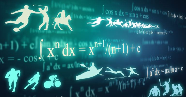Silhouettes of people playing sports on an equations background