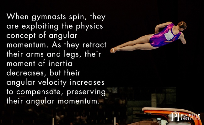 Gymnast in the air, tucked tight, doing a twisted flip