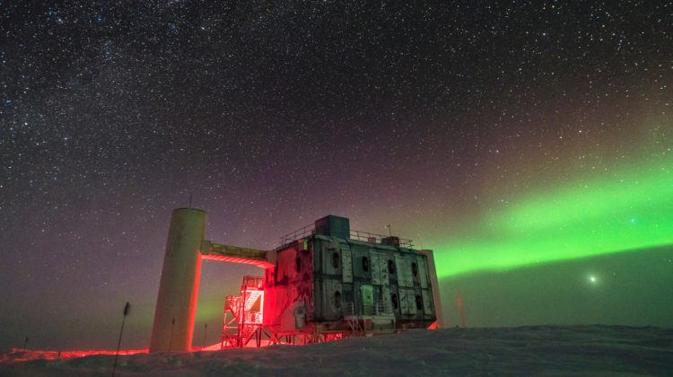 Nighttime views of an observatory in the Antarctica